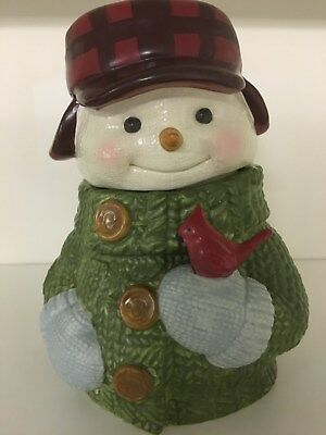 Rare Hallmark Snowman Cookie Jar With Green Sweater