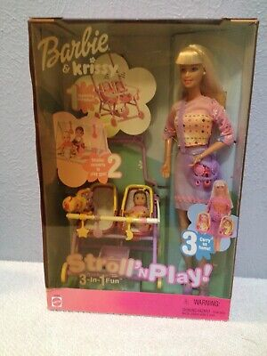 BARBIE DOLL STROLL N PLAY KRISSY DOLL 3 IN 1 FUN NIB