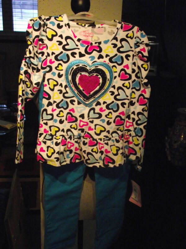 Nannette Girls 2pc Pants Set Color Turquoise Size 4 NWT