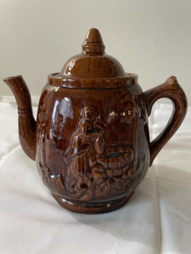 """Vintage Brown Glazed """"Rebecca at the Well"""" Teapot"""