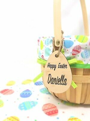 Easter Basket Name Tag Egg Personalized, Laser Cut Wood Bunny, Place Cards](Halloween Baskets Personalized)