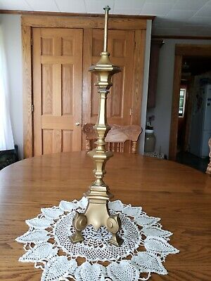Antique Brass Footed Candlestick Banquet Table Lamp Base Very Heavy 24.75