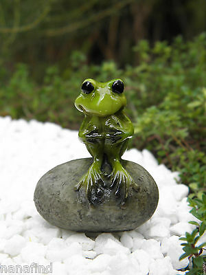 Miniature Dollhouse FAIRY GARDEN Figurine ~ Cute Little Frog on Stone ~ NEW