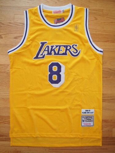 Kobe Bryant #8 Los Angeles Lakers Hardwood Classics Throwback Yellow Mens Jersey