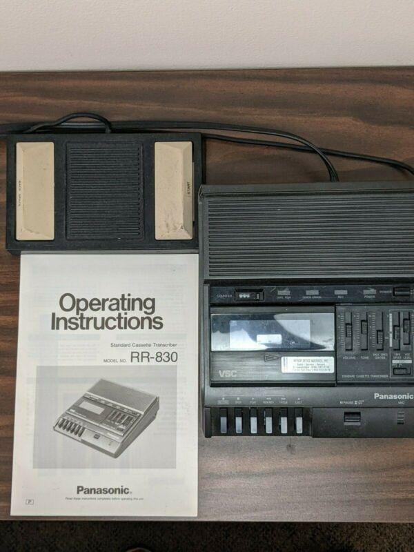 Panasonic RR-830 Standard Cassette Transcriber / Recorder includes Foot Pedal