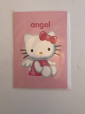 Official Sanrio HELLO KITTY Angel Birthday Greeting Card Pink Girl Rare Vtg New