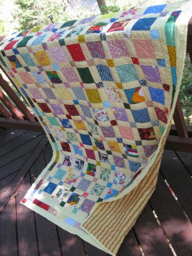 "Handmade Puss in the Corner Patchwork Quilt, 50"" x 71"""