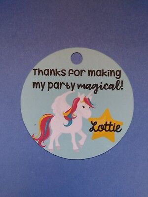 12 Personalized Custom Birthday Party Favor Tags. Unicorns, magic. Treat bags (Personalized Party Favor Bags)