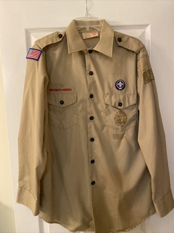 Boy Scout BSA UNIFORM SHIRT Mens Medium Long Sleeve Tan G65