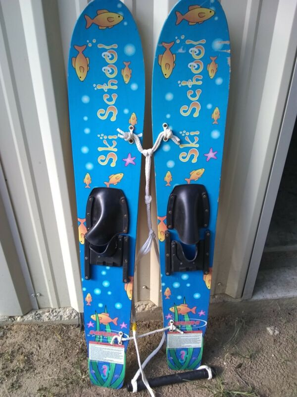 VINTAGE NASH JR. SKI WOODEN KIDS JR TRAINER TRAINING WATER SKIS  47 Ski School