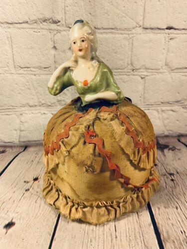 Antique Half Doll Pin Cushion Victorian Marie Antoinette w/ Original Dress