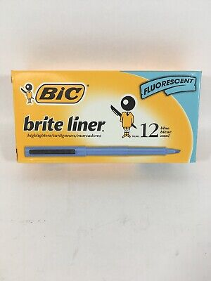 Bic Brite Liner Highlighter - Chisel Marker Point Style - Blue Ink - 12 (bl11be)