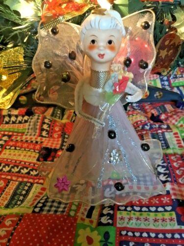 "Vintage 6"" Christmas Angel Mercury Beads Porcelain Head Nylon Wire Body"