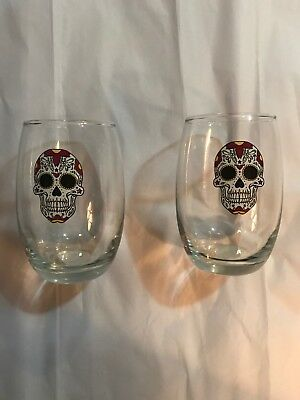 HALLOWEEN WINE GLASSES Day of the Dead WHITE SKULLS  Stemless Set of 2  - Day Of The Dead Wine Glasses
