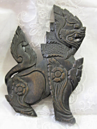Hand Carved Art Sculpture Wood Dragon Beast Beautiful Craftsmanship  Relief