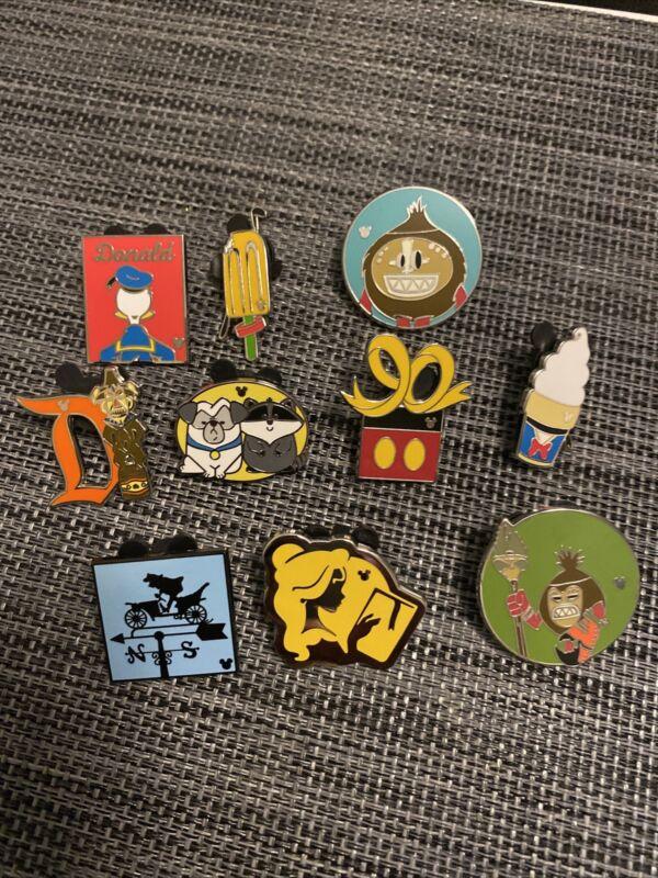 DLR HIDDEN MICKEY Disney Pin Trading Lot of 10 Pins No Doubles Lot144