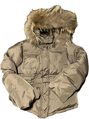 IL Gufo Girls Down Jacket Hooded Size 8 Years With Natural Raccoon Trim