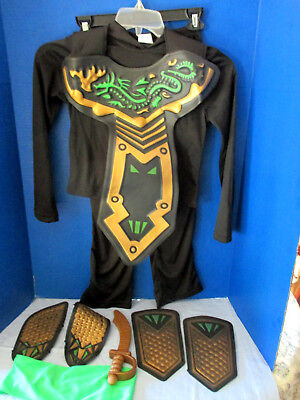 9 Piece Black FIGHTER NINJA HALLOWEEN COSTUME~Shirt Pants Guards ~Boys Medium