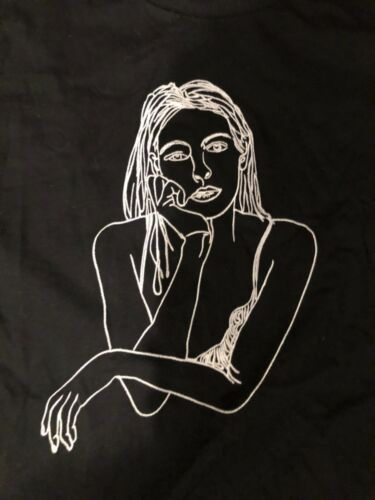 New Topshop by Tee And Cake Black Sketch Girl T-Shirt sz L