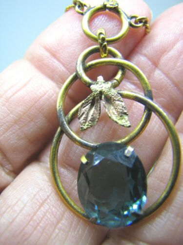 LONDON BLUE COLORED TOPAZ IN 12K GOLD FILLED AND TOUCH OF ROSE GOLD PENDANT