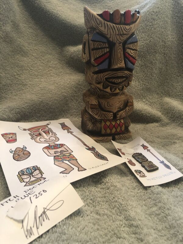 PLEASANT TIKI WITCO WITCH DOCTOR BLUE MUG PRINT PIN COMBO SET Numbered SOLD OUT