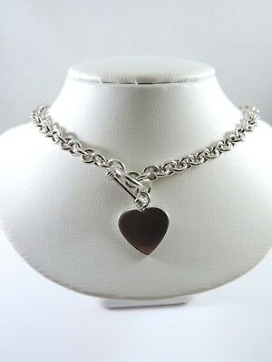 (.925 STERLING SILVER - ROUNDED CABLE LINK NECKLACE W/ TOGGLE CLASP & HEART - 16