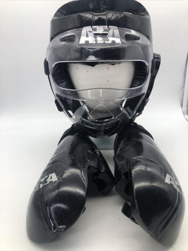 ATA Macho Martial Arts Youth Padded Head Gear Black Helmet/Face Shield + Gloves