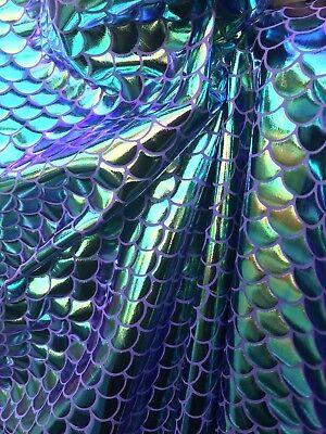 Mermaid Iridescent (purple, green and gold) spandex fabric sold by yard - Purple Green And Gold