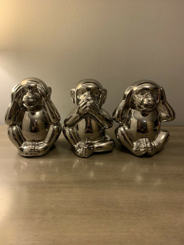 Set of 3 Speak No Evil See No Evil Hear No Evil Silver Monkeys