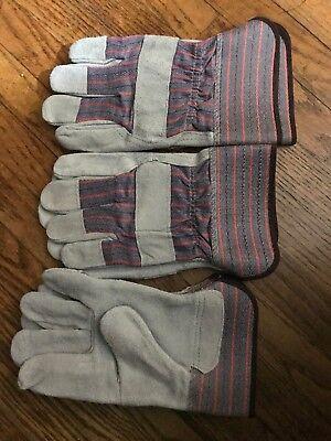3 Pair Economy Men Leather Work Split Gloves Palm Glove