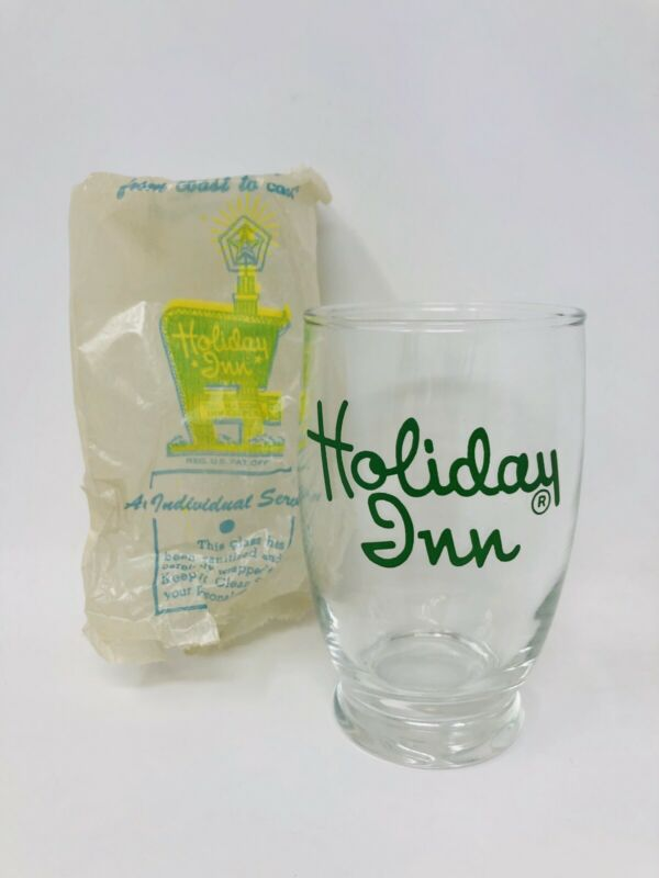Vintage Holiday Inn Logo Drinking Glass Cup Souvenir 50's 60's Green Advertising