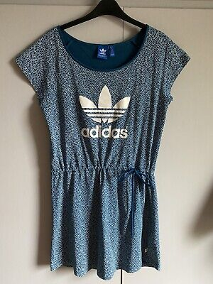 Adidas T Shirt Dress Blue/green With Horseshoe Print  And Tie Waist Size 8