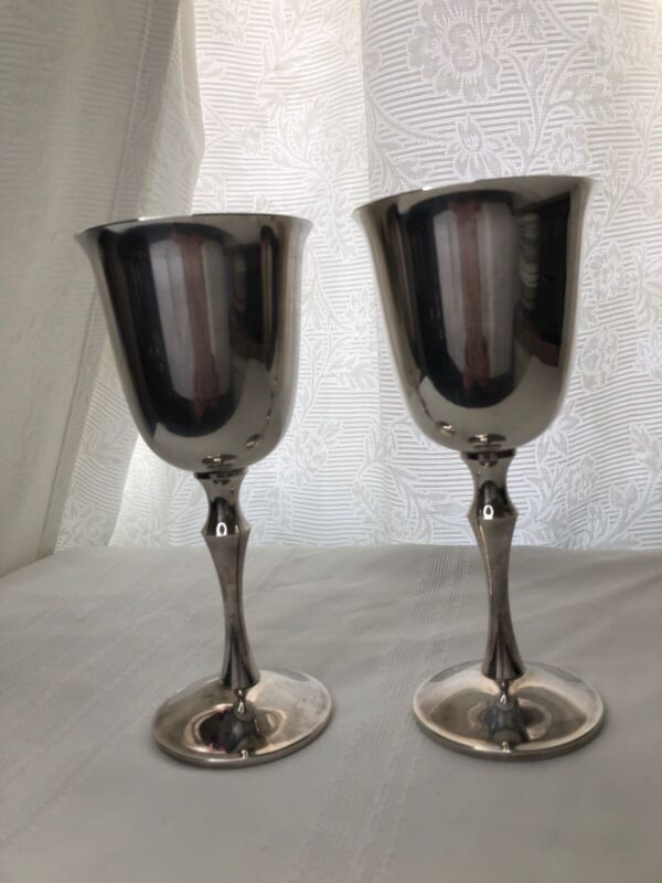 Valero Silver Plated Wine Goblets-Made in Spain Set Of 2