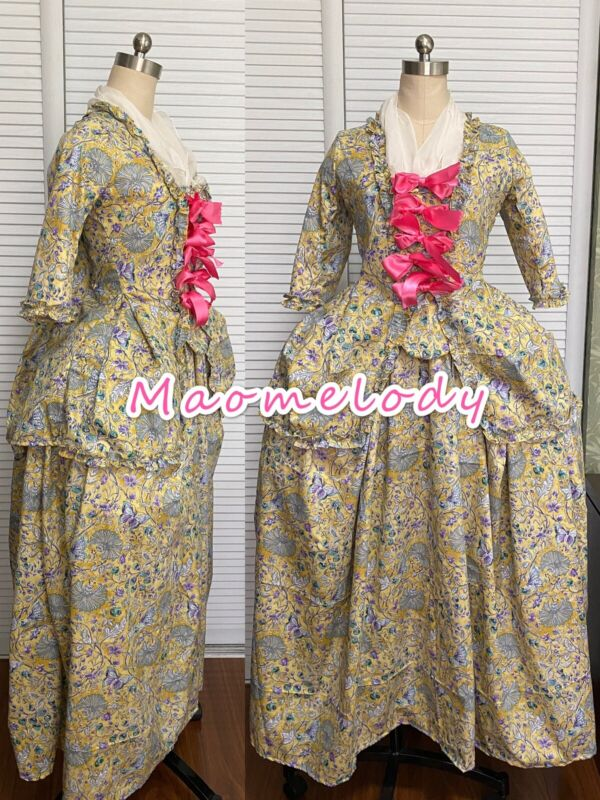18th Century Marie Antionette Short Sack Back Cosplay Costume Cotton Dress