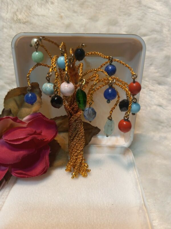 Vtg BIJOUX CASCIO Couture Poured Glass Gripoix Style Gold Wire Tree Pin Brooch