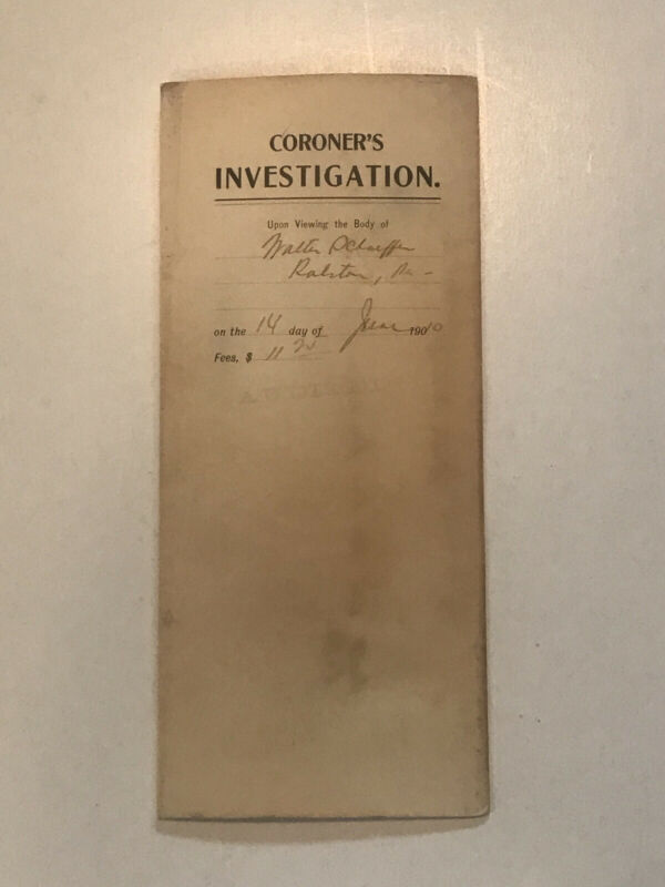 """EXTREMELY RARE 1910 """"CORONER INVESTIGATION"""" on ACCIDENTAL DEATH of """" LAUDANUM"""""""