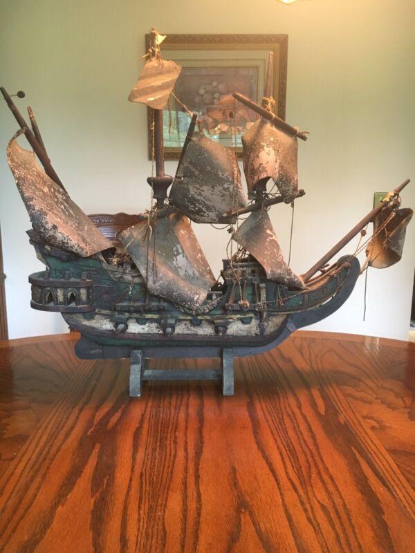 ANTIQUE WOOD SHIP REPLICA
