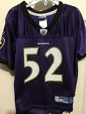 3156aceda BALTIMORE RAVENS JERSEY NFL RAY LEWIS REEBOK PURPLE KIDS MEDIUM (5/6)