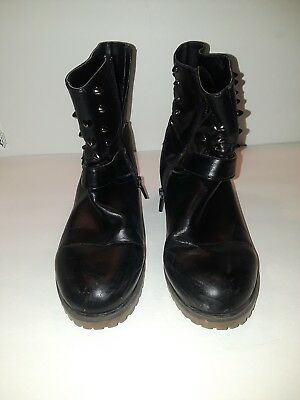- Womens Daphne Black Ankle Boots Metal Spikes Buckle Size 8?