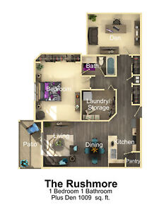 The Rushmore - Spacious one bedroom plus den