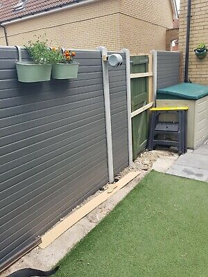 Used Composite plastic Carbon Grey uPVC Fence Panels. Job lot of over 40!