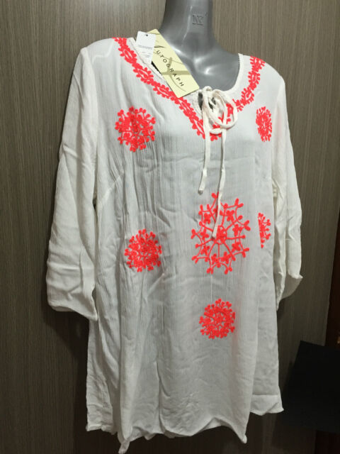BNWT Womens Sz 26 Autograph Brand Cheesecloth Peasant Ivory Tunic Top RRP $50