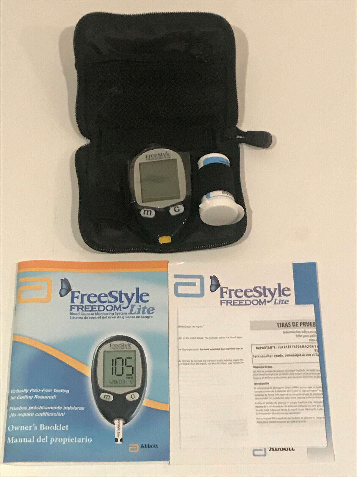 FREESTYLE FREEDOM Lite Blood Glucose Meter Monitor w Carryin