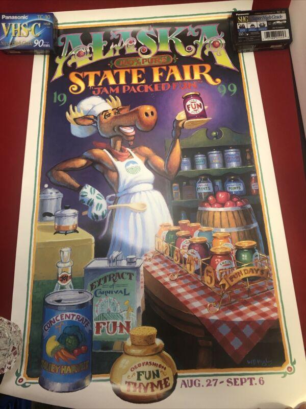 "Alaska State Fair Poster 1999  Moose Chef artist W. B. Hughes 26.5"" X 16"""