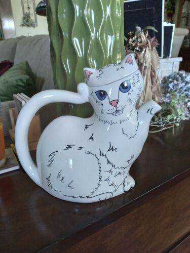 Nina Lyman Cat Teapot White Cats by Nina
