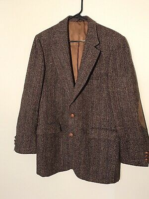 Stafford Harris Tweed Sport Coat 100% Wool 44R Elbow Patch blazer READ DESCRIPT
