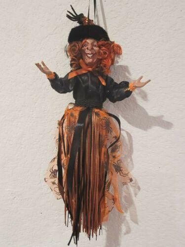 "Halloween Witch Doll Ornament Orange Black 13"" Tree Decor"