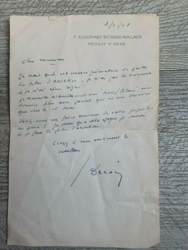 Letter Autograph Signed of / The Filmmaker Henri Decoin 1948 Turning Film Jouvet