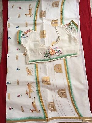 Indian Ethnic Sari Saree W Stitched Blouse Off White Cotton Blend Preowned L