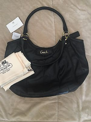NWT COACH Ashley Black Leather Shoulder Tote Bag Purse Authentic F23308